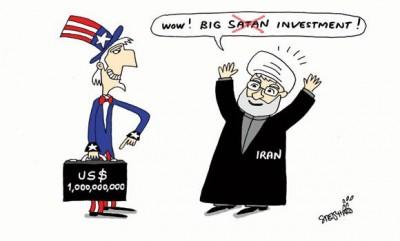 Cartoon  iran USA investment