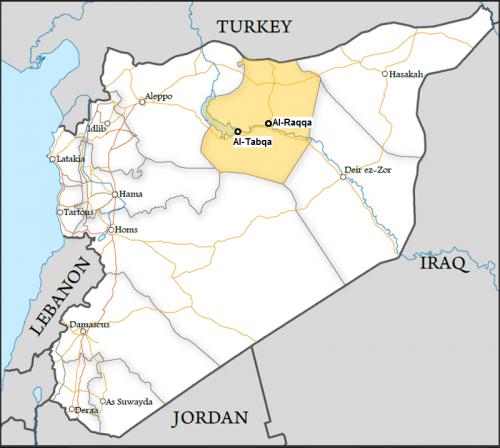 Syria map - Tabqa base