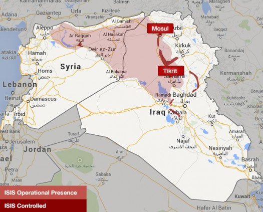 Iraq map ISIS territory