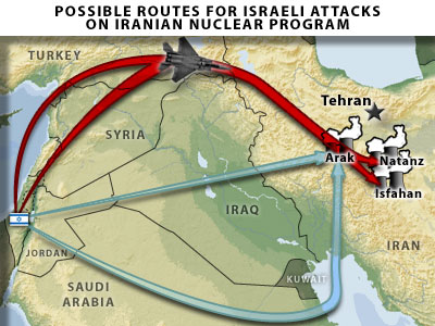 Israel Iran strike possible routes