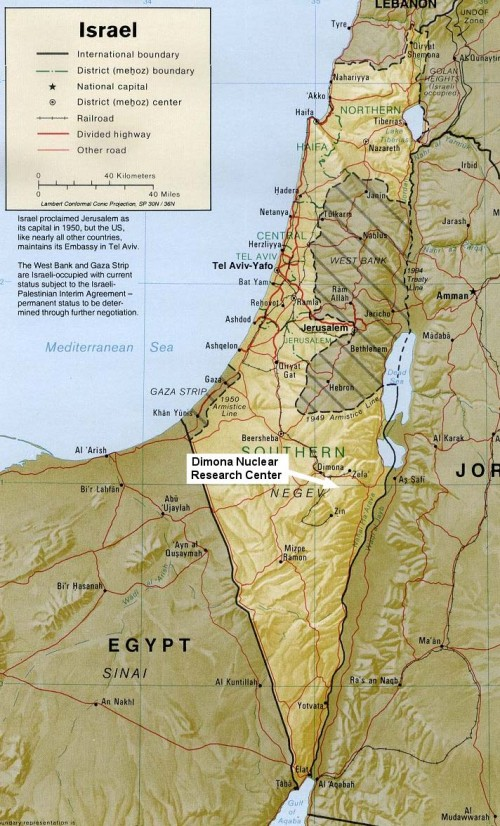 dimona, israel map