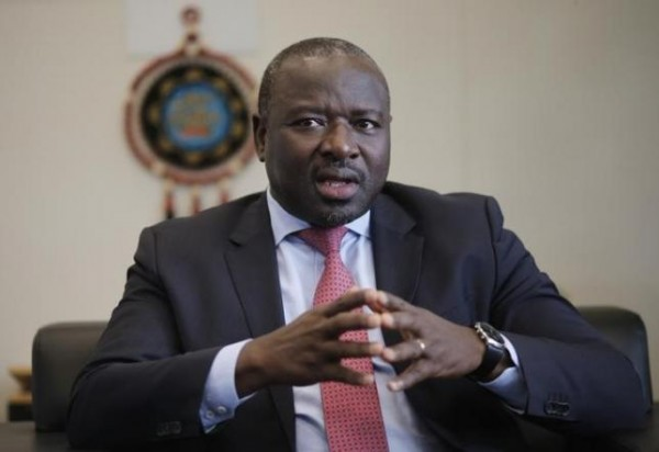 Secretary General of the Commission for the Comprehensive Nuclear-Test-Ban Treaty Organization (CTBTO) Lassina Zerbo gestures during an interview with Reuters in Vienna May 9, 2014. REUTERS/Leonhard Foeger