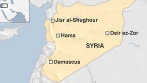 jisr al shughour  map