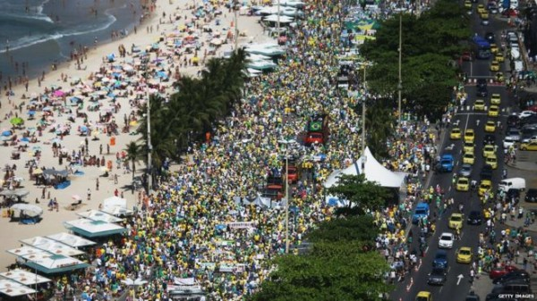 Protesters in Copacabana beach calling for the impeachment of President Dilma Rousseff on August 16, 2015. Tens of thousands of people have taken part in protests across Brazil calling for the impeachment of President Dilma Rousseff.