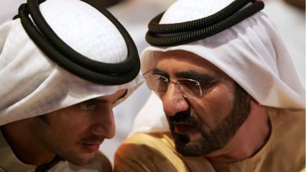 Sheikh Mohammad bin Rashid al Maktoum (right), ruler of Dubai and prime minister of the UAE, and his son Rashid, who died on September 19, 2015