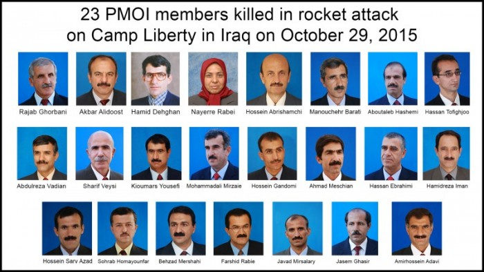 23 members of the main Iranian opposition group, the People's Mojahedin Organization of Iran, PMOI (Mujahedin-e Khalq, MEK), were reportedly  killed on Thursday, October 29, 2015, in a rocket  attack on Camp Liberty in Iraq.