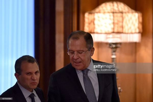 File photo : Russian Foreign Minister Sergei Lavrov (R) and his Lebanese counterpart Gebran Bassil enter a hall before their meeting in Moscow on November 18, 2015. AFP PHOTO / KIRILL KUDRYAVTSEV Credit: KIRILL KUDRYAVTSEV