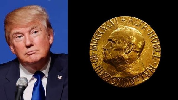 """Donald Trump nominated for: """"his vigorous peace through strength ideology, used as a threat weapon of deterrence against radical Islam, ISIS, nuclear Iran and Communist China,"""" according to a copy of the nomination letter obtained by the Peace Research Institute in Oslo, Norway. According to PRIO, Trump was nominated by an American. Apparently even Trump thought this was a joke"""