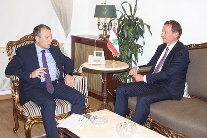 French Ambassador to Lebanon Emmanuel Bonne  (R) with Foreign Minister Gebran Bassil
