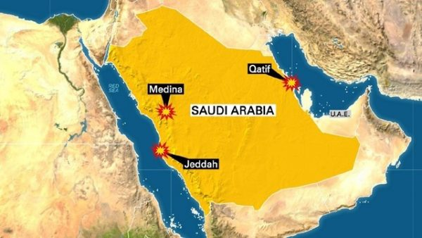 Saudi-Arabia- 3 suicide attacks map