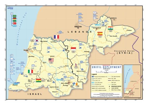 south lebanon map unifil