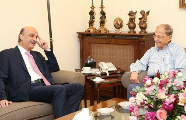 Lebanese Forces leader Samir Geagea (L) urged Friday all parliamentary blocs to support the election of Free patriotic Movement founder MP Michel Aoun's (R) presidential bid Oct. 21, 2016