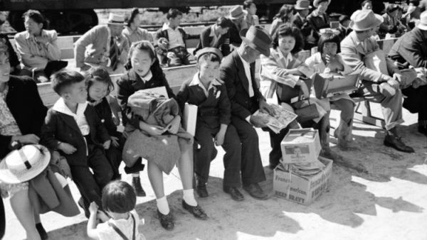 This historical photo from the Library of Congress shows the Santa Anita reception center, Los Angeles, Calif. The evacuation of Japanese and Japanese-Americans from West Coast areas under U.S. Army war emergency order. (Library of Congress / Russell Lee)