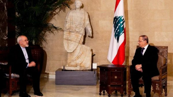 Lebanon's newly elected President Michel Aoun, right, meets with Iranian Foreign Minister Mohammad Javad Zarif at the presidential palace in Baabda, east of Beirut, Lebanon, Monday, Nov. 7, 2016. (AP Photo/Hassan Ammar) (The Associated Press)