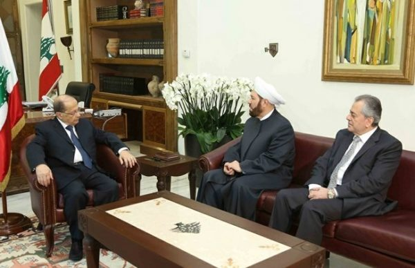 Syria's Grand Mufti Ahmad Badreddine Hassoun visits President Michel Aoun at the Baabda Palace, Wednesday, Dec. 7, 2016. He was accompanied by Ali Abdul Karim Syrian ambassador to Lebanon