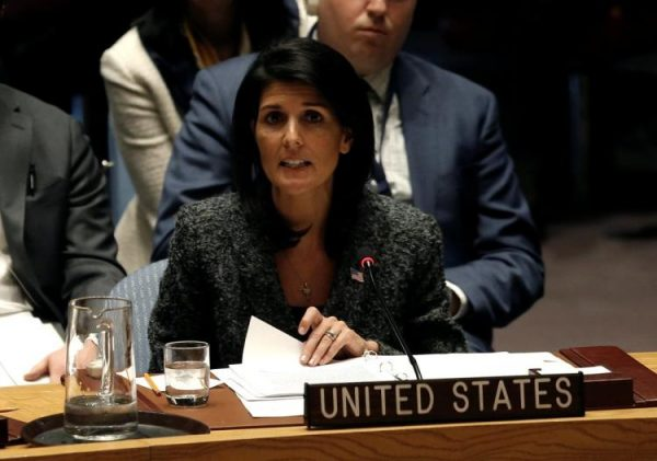 """""""I spoke to the president [Donald Trump] this morning and he said if the Syrian regime uses this poisonous gas again, the United States is locked and loaded,"""" the U.S. ambassador to the United Nations, Nikki Haley, told the UN Security Council on Saturday."""