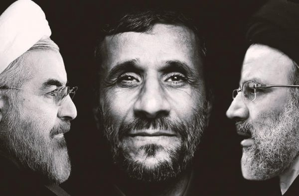 Hassan Rouhani (L) , Mahmoud Ahmadinejad (C) and Ebrahim Raisi.