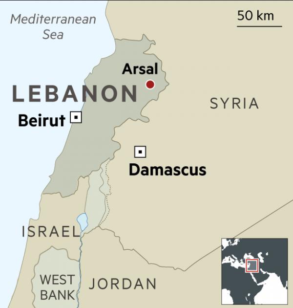 arsal lebanon map
