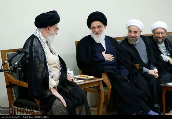 Ayatollah Mahmoud Hashemi Shahroudi  ( 2nd from left was  appointed by Iran's Leader (left)  as the new head of the country's Expediency Discernment Council, replacing the late Ayatollah Akbar Hashemi Rafsanjani.