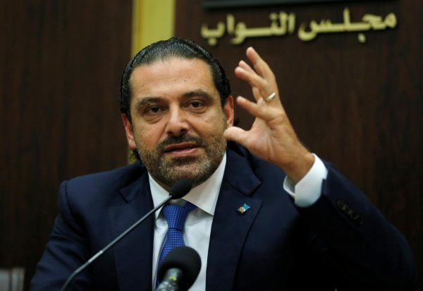 Lebanon's prime minister Saad al-Hariri gestures during a press conference in parliament building at downtown Beirut, Lebanon October 9, 2017. REUTERS/Mohamed Azakir
