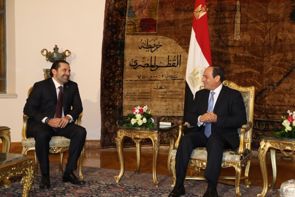 Egyptian President Abdel Fattah al-Sisi is shown during his meeting with resigned PM Saad al-Hariri, who announced his resignation as Lebanese prime minister on Nov. 4,