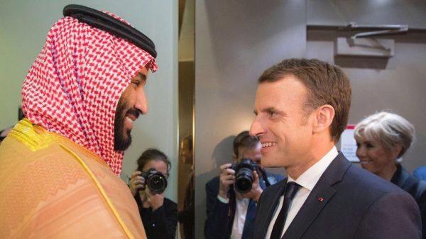President Macron meets in  Saudi Arabia  Crown Prince Mohammed Bin Salman  (MBS ) when Lebanese PM Saad Hariri was forced by Saudi Arabia  to resign ). (SPA)