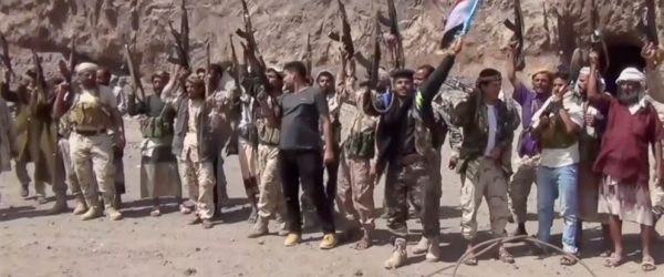 This frame grab from video shows fighters loyal to the separatist so-called Southern Transitional Council, backed by the United Arab Emirates, chanting after taking control of Mount Hadid in Aden which was controlled by forces loyal to President Abed Rabbo Mansour Hadi, in Aden Yemen, Tuesday, Jan. 30, 2018. The separatists seized the area around the presidential palace on Tuesday, but Saudi troops who have been guarding the palace for months stopped the separatists at the gate. Security officials said Hadi's prime minister and several Cabinet members would soon leave Yemen for Riyadh, where Hadi is already based. (AP