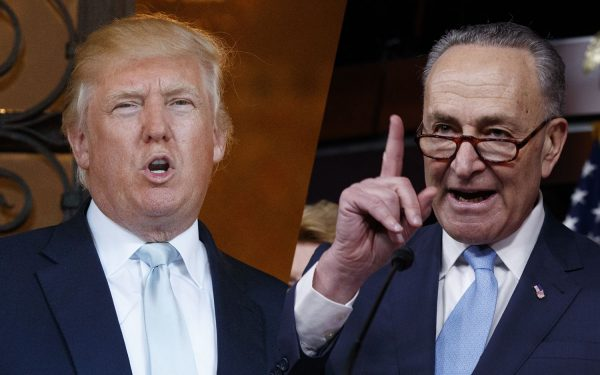 """Senate Democratic leader Chuck Schumer and president Trump. """"Negotiating with President Trump is like negotiating with Jell-O,"""" Sen. Chuck Schumer said on the Senate floor as he slammed the president for shifting positions Friday during last-ditch talks."""