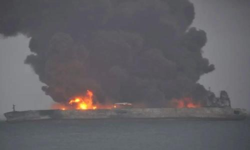 Thirty-two people, mostly Iranians, were missing after Iranian oil tanker Sanchi collided with a cargo ship off China's eastern coast, authorities said on Sunday.