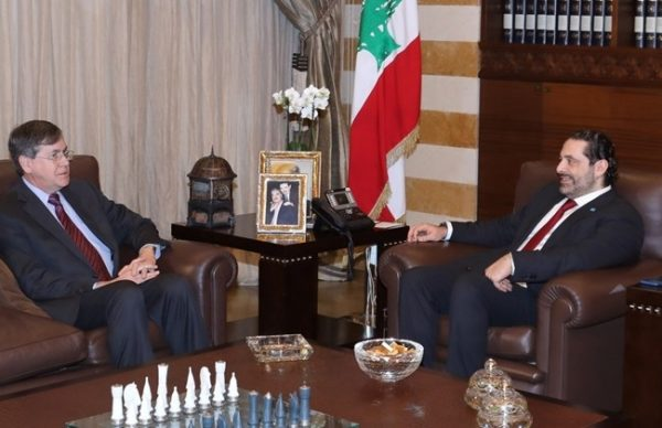 Former U.S. Ambassador to Lebanon David Satterfield met with Prime Minister Saad Hariri Tuesday  at his  office in Beirut