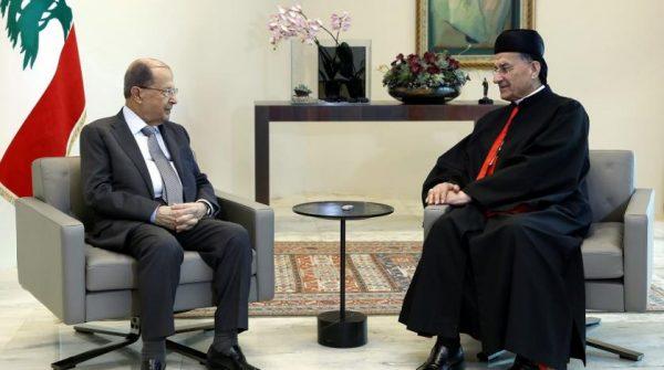 File Photo: Lebanese President Michel Aoun meets Maronite Patriarch Beshara al-Rahi at the presidential palace. (Dalati & Nohra)