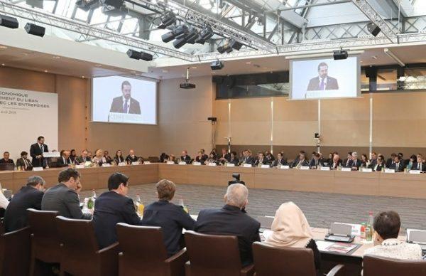 Prime Minister Saad Hariri attends the CEDRE conference in Paris on April 6, 2018. Credit Dalati Nohra, HO)