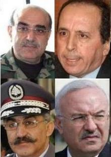 Generals Raymond Azar (bottom R) , Jamil Sayyed (top R) , Ali al-Hajj (bottom L) , and Mustafa Hamdan (top L) detained from 2005 to 2009 on suspicion of involvement in former PM Rafik Hariri's murder. In April 2009, the Special Tribunal for Lebanon (STL ) ordered their release without charges due to insufficient evidence. STL prosecutor made it clear at the time they were set free that their release did not mean they are Innocent and that once more evidence is available they could be back in jail.