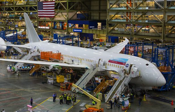 Boeing imports titanium under a long-term contract with the world's largest producer, in Russia. Show here is a Boeing 787 being comleted at the final assembly line in Everett. (MIke Siegel/The Seattle Times)