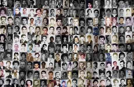Portraits of some of the missing Lebanese are displayed during a protest by their relatives and friends