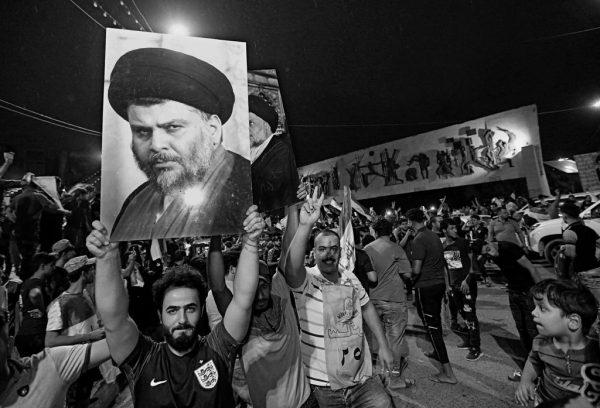 Followers of the Shiite cleric Moktada al-Sadr celebrating their success in Iraqi elections in Baghdad.CreditHadi Mizban/Associated Press