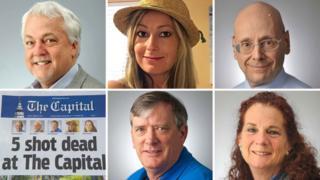 The victims, from top left: Rob Hiaasen, Rebecca Smith, Gerald Fischman; John McNamara (bottom centre), Wendi Winters (bottom right)