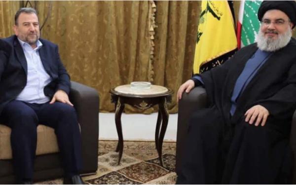Hamas Politburo Deputy Chairman Saleh al-Arouri  (L) is shown during  his meeting  with Hezbollah Secretary-General Hassan Nasrallah  in Lebanon  October 31, 2017