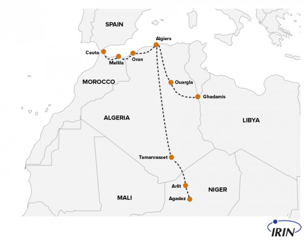 Map depicts the paths that migrants take after they've been expelled from Algeria. (AP Animation/Peter Hamlin)