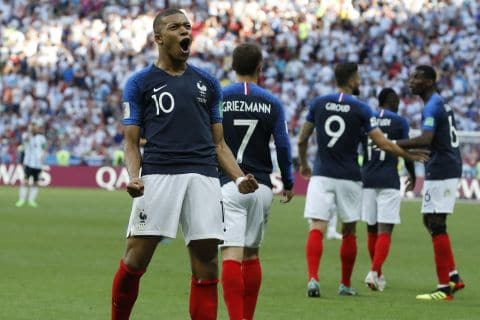 France's Kylian Mbappe celebrates after scoring his side's third goal during its round of 16 match on June 30 against Argentina at the 2018 World Cup in Kazan, Russia. (David Vincent/AP)