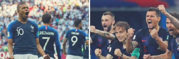 France (left) are appearing in their third final while Croatia will make their maiden