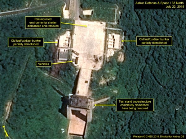 This July 22, 2018, satellite image released and annotated by 38 North on Monday, July 23, 2018, shows what the U.S. research group says is the dismantled engine test stand at the Sohae launch site in North Korea. The U.S. research group says North Korea has started dismantling key facilities at its main satellite launch site in what appears to be a step toward fulfilling a commitment made by leader Kim Jong Un at his summit with President Donald Trump in June. (Airbus Defense & Space/38 North via AP)