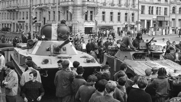 Thousands of Czechs surrounded Soviet tanks on August 21, 1968, to protest the Warsaw Pact invasion, often appealing directly to the Soviet soldiers to stop.