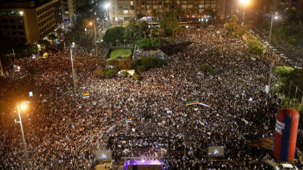 Tens of thousands protest against the jewish nation-state law at a rally organized by the Druze community, Tel Aviv, Israel, 2018.\ Moti Milrod