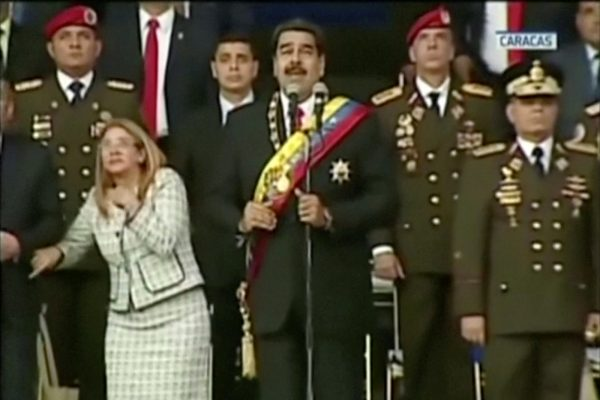 Venezuelan President Nicolas Maduro reacts during an event which was interrupted, in this still frame taken from video August 4, 2018, Caracas, Venezuela. VENEZUELAN GOVERNMENT TV/Handout via REUTERS TV.  ATTENTION EDITORS - THIS IMAGE HAS BEEN PROVIDED BY A THIRD PARTY.