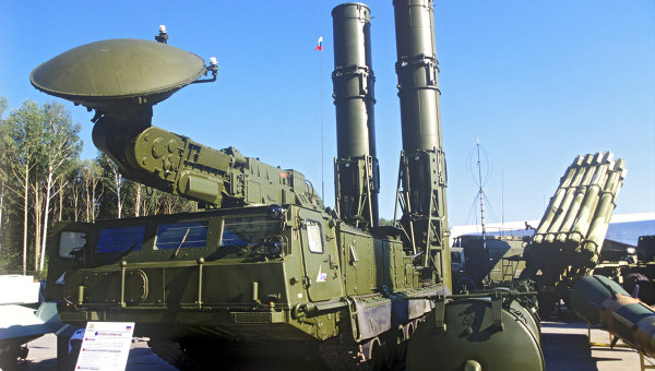 In this undated file photo a Russian S-300 anti-aircraft missile system is on display in an undisclosed location in Russia.