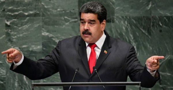 Venezuela's President Nicolas Maduro addresses the United Nations General Assembly in New York on September 26, 2018.