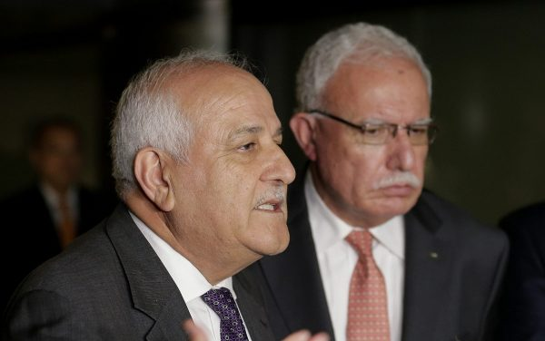 The Palestinian ambassador to the United Nations, Riyad Mansour, left, with Palestinian minister of foreign affairs Riyad al-Maliki in New York on Sept. 26, 2018. (Seth Wenig/AP)