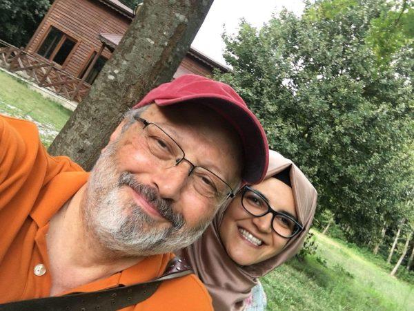 Jamal Khashoggi is shown with his Turkish fiancee Hatice Cengiz