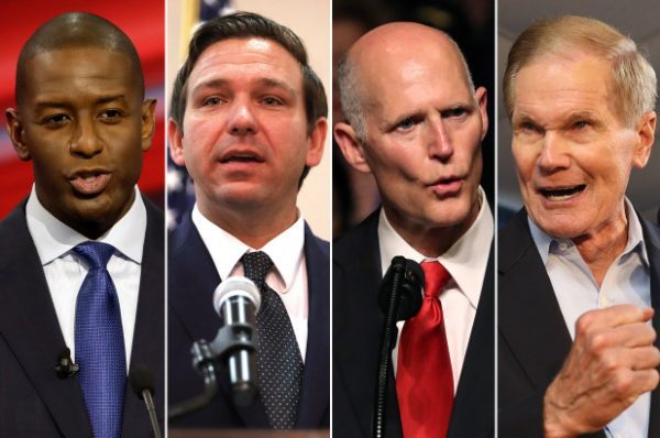 The Florida Senate race between incumbent Democratic Sen. Bill Nelson  (2nd R and former Republican governor Rick Scott  ( R) will proceed to a recount, although Scott declared victory. The governor race between Democrat Andrew Gillum (L) and Republican Ron DeSantis  2nd from L  also heads to a recount,